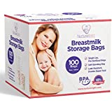 Nurture Right Breastmilk Storage Bags, 6oz / 180ml Pre-Sterilized & BPA-FREE Bags, 100 Count