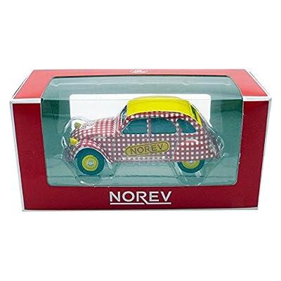 Norev Citroen 2 CV 6 Special 1980 Saucisson Cycliste Véhicule Miniature, 310601, Rouge/Blanc/Jaune, Echelle 1/64