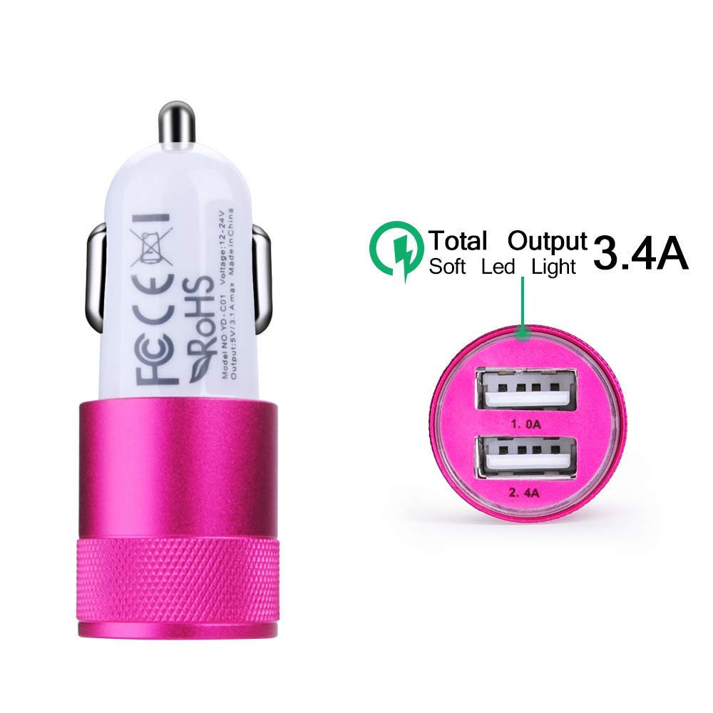 USB Type C Car Charger 2.4A Dual USB Port Rapid Car Charger Adapter Wirth 6ft Type C Cable Charging Cord Compatible for Samsung Galaxy S9//S9+//S8//Note8 Nexus 6P//5X and More LGV30//V20//G7