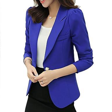 27534bc084c933 Damen Blazer Elegant Slim Fit Business Office Jacket Frühling Herbst  Kleidung Fashion Revers Langarm Formal Anzug Mantel Outwear Unifarben:  Amazon.de: ...