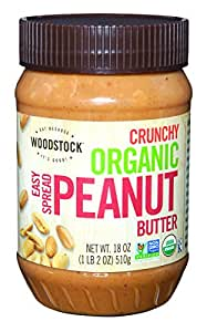 Woodstock Farms Organic Peanut Butter, Easy Spread, Crunchy, Salted, 18-Ounce Jars (Pack of 4)
