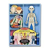 """Juego de juego de anatomía del cuerpo humano magnético Melissa y Doug, imanes anatómicos para niños y niñas correctos, 24 piezas magnéticas y bandeja de almacenamiento, 1.1 """"Alt. X 8.7"""" L x 11.7 """"An."""