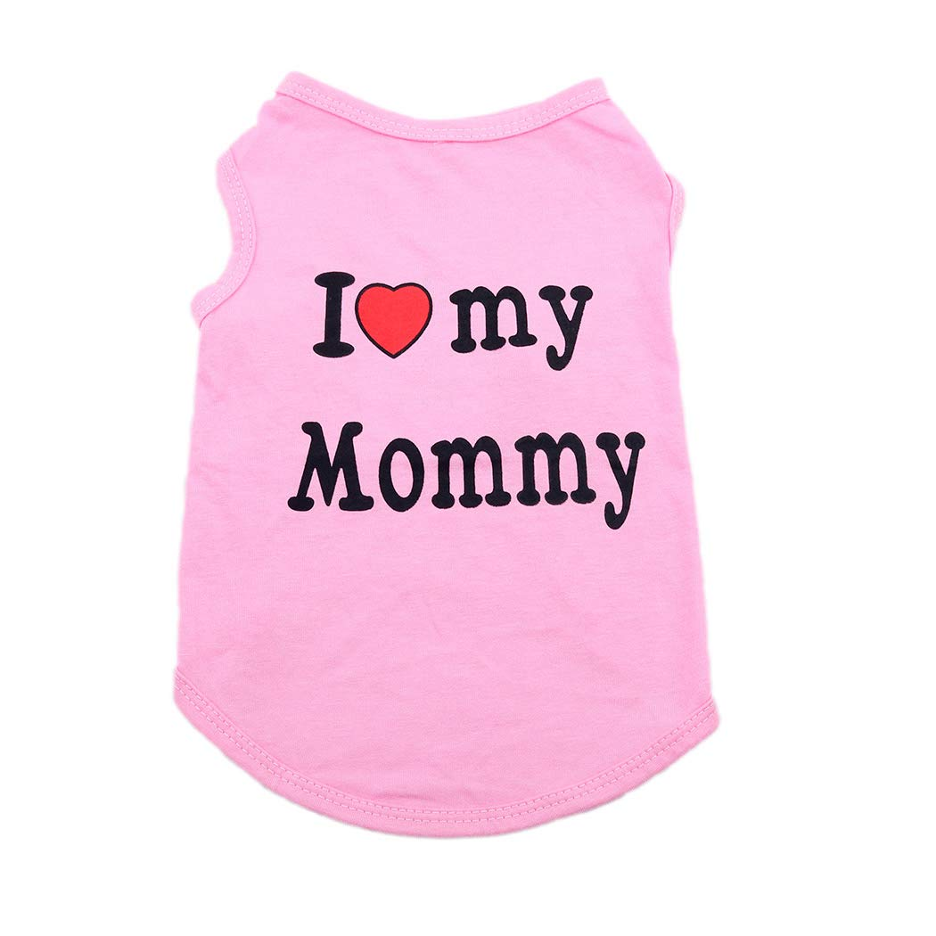 XS, Rose Red Fstrend Mommy Dog Cat Shirt Summer Clothes Pet Puppy T-Shirts Cotton Vest Clothes for Dogs and Cats