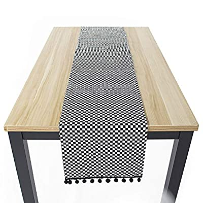 Suppromo Plaid Checkerd Table Runners Black White Gingham Table Runner Cotton/Linen Blend Table Runner for Family Kitchen Dinners or Gatherings, Indoor or Outdoor Parties, Everyday Use - PACKAGE: 1 Set of Rustic Table Runners(Black and White , Square checkered pattern)included,Size 11.8 x 70.8 inch.Gingham Table Runners both ends have Black small pompoms-very cute HIGH QUALITY MATERIAL: Cotton/Linen Blend table runners Texture clear, durable, tightly woven, wrinkle-resistant and with a decent, well-sewn hem, the material is very soft and doesn't scratch or irritate your skin and Not easily deformed. FOR ALL OCCASIONS - Perfect Christmas, Halloween, Easter, Birthday Parties, and Barbecue evenings, our table runner will add to the festive look, it is also suit for family home kitchen farmhouse , dining, outdoor picnic and hanging from your stove as decor. - table-runners, kitchen-dining-room-table-linens, kitchen-dining-room - 51B %2BxkC7uL. SS400  -