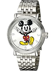 Disney Mens W001851 Mickey Mouse Analog Display Analog Quartz Silver Watch
