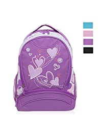 Hynes Eagle Girl's Lightweight Sweetheart Patterns School Backpack (Purple-1)