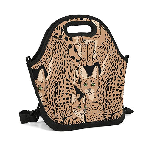 rrr Lunch Bag Lightweight Durable Awesome containers Lunch Box Basic Packet (Beige Graceful Wild Cats African) (Ski Wildcat)