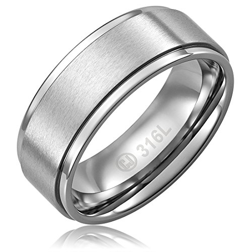 8MM Stainless Steel Promise Engagement Rings for Men | Wedding Bands for Him | Brushed Top and Polished Edges [Size - Steel Stainless Ring Brushed
