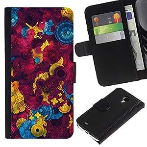 UberTech / Samsung Galaxy S4 Mini i9190 MINI VERSION! / Button Sewing Abstract Maroon / Cuero PU Delgado caso Billetera cubierta Shell Armor Funda Case Cover Wallet Credit Card