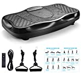 FITODO Vibration Power Plates Trainer Fitness Vibrating Machine Oscillating Platform Whole Body Shaking Massager - Remote Control/Bluetooth Music/USB Connection(Black)