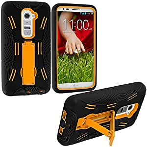 Accessory Planet(TM) Black / Yellow Heavy Duty Hybrid Hard/Soft Silicone Case Cover with Stand Accessory for LG G2 (Sprint, T-Mobile, At&t)