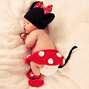 Towall 1 Set Vivid Lovely Hat+Skirt+Shoes Crochet Knit Photo Prop Costume For Girl Infant Baby