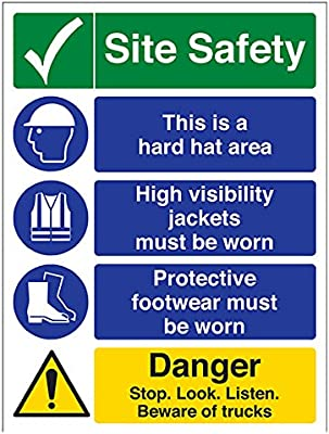 VSafety Multi Hazard Site Safety High Viz Warning Sign 300mm x 400mm Portrait Self Adhesive Vinyl