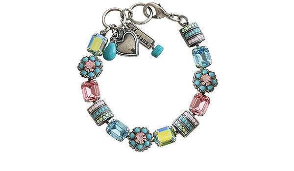 Womens Statement Unique Unusual Blue Multi Coloured Round Circular Bracelet