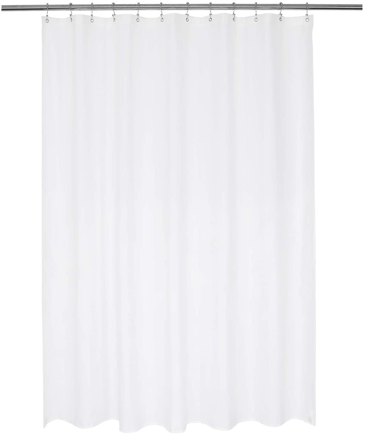 N&Y HOME Nylon Hotel Shower Curtain or Liner, Machine Washable, Water Resistant, White, 72 x 72 inches