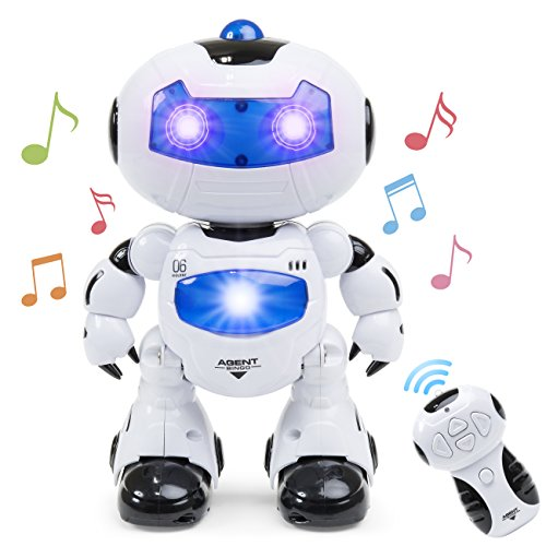 (Best Choice Products Kids Electronic RC Intelligent Walking Dancing Futuristic Robot STEM Toy w/ Music, Lights - White)