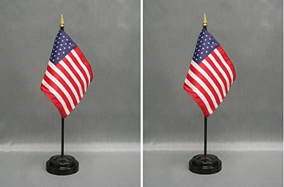 2 Rayon 4x6 Miniature Office Desk /& Little Hand Waving Table Flags Includes 2 Flag Stands /& 2 Small Mini Country//International Stick Flags Made in The USA N.A.T.O.