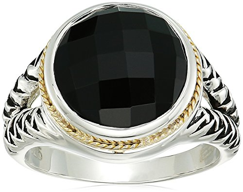 (Effy Womens 925 Sterling Silver/18K Yellow Gold Onyx Ring, Black, 7)