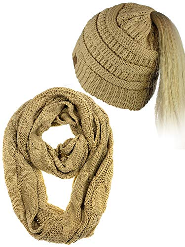 - C.C BeanieTail Messy High Bun Cable Knit Beanie and Infinity Loop Scarf Set, Camel