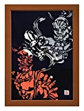 """Cutout picture Japanese art collage KIRIE """"Todaiji Kongorikishi"""" Vajradhara(a Deva king who is a guardian of the Buddha) Made by Washi(Japanese paper) Multi color, 13"""" x 18"""""""