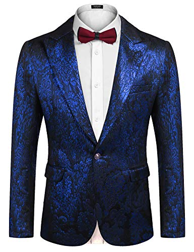 COOFANDY Mens Floral Tuxedo Suit Slim Fit One Button Blazer Luxury Dinner Jacket