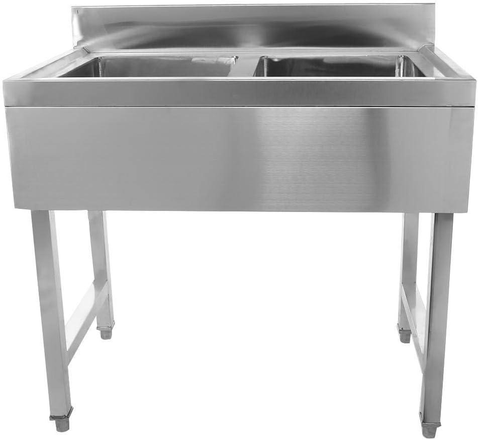 Lavamanos con 2 Senos para Restaurante Bar Hospital Lavander/ía Fregadero de Acero Inoxidable Industrial 90 x 50 x 90cm