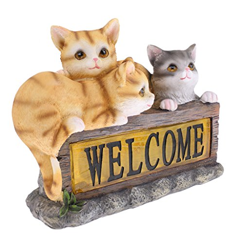 MagiDeal Lovely Solar Energy Light Cat Statue Animal Model Home Garden Lawn Decoration Collections Gift by MagiDeal