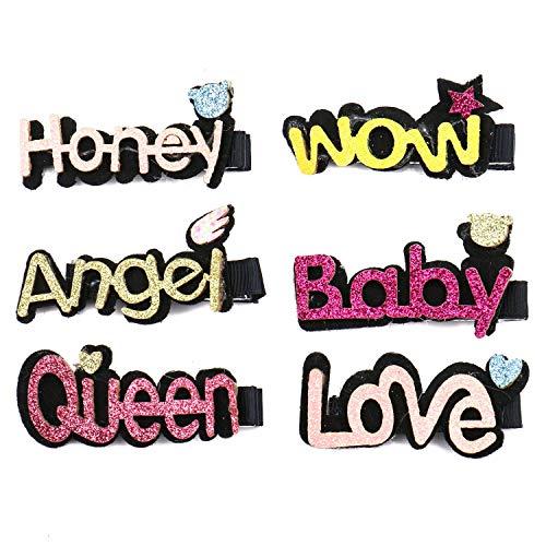 Monrocco 6 Pcs Glitter Letter Design Hairpin Cute Fabric Alligator Clip Headwear for Women Girls (Honey,Wow,Queen,Love,Baby,Angel)