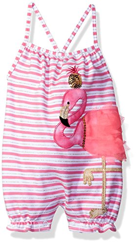 Mud Pie Baby Girls' Bubble Romper, Flamingo, 12-18 Months