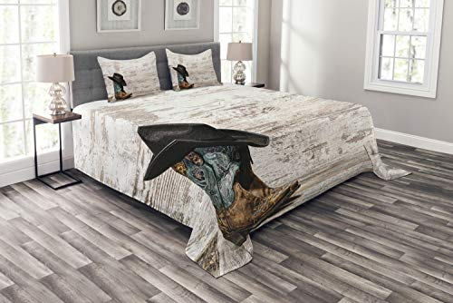 Ambesonne Western Bedspread, Traditional Rodeo Cowboy Hat and Cowgirl Boots Retro Grunge Background Art Photo, Decorative Quilted 3 Piece Coverlet Set with 2 Pillow Shams, Queen Size, Brown Black ()