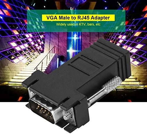 Cable Length: Black Computer Cables VGA Male to RJ45 Adapter VGA Signal Transit Monitor Extender Adapter RJ Network Cable VGA to RJ45 Adapter