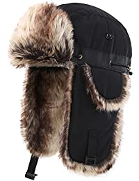 Oudoor Unisex Faux Fur Lined Trapper Hat Warm Windproof Winter Russian Hats