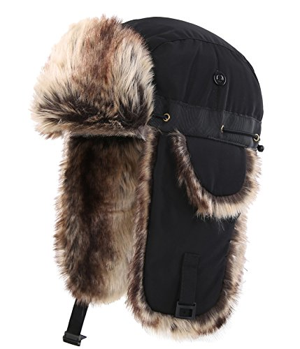Connectyle Unisex Faux Fur Lined Trooper Trapper Hat Warm Winter Hunting Hats With Ear Flaps (Lined Aviator)