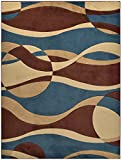 Hand Carved Sculptured Blue Circles and Waves Area Rug Rugs Contemporary Modern Abstract Design Nevita Collection(Blue, 7′ 10″ x 9′ 10″) For Sale