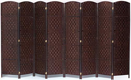 Legacy Decor 8 Panel Diamond Weave Fiber Room Divider, Brown Color