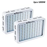 2PCS King Plus 1000w Double Chips LED Grow Light Full Specturm for Greenhouse and Indoor Plant Flowering Growing (2pcs 1000w)