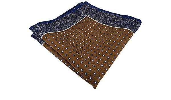 TigerTie pañuelo de seda en marrón khaki marina blanco lunares con ...