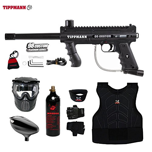 MAddog Tippmann 98 Custom Beginner Protective CO2 Paintball Gun Package - Black