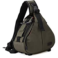 DSLR SLR Camera Bag Travel Outdoor Backpack Knapsack Waterproof and Sling Bag Shoulder Bag for Canon, Nikon, Sony, Olympus, Samsung, Panasonic, Pentax Camera and Camera Accessories (Army Green)