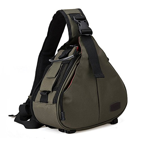 DSLR SLR Camera Bag Travel Outdoor Backpack Knapsack Waterproof and Sling Bag Shoulder Bag for Canon, Nikon, Sony, Olympus, Samsung, Panasonic, Pentax Camera and Camera Accessories (Army Green) (Camera Bag Dslr Waterproof)