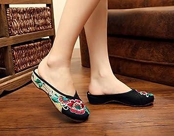 ZLL Gestickte Schuhe, Sehnensohle, ethnischer Stil, weiblicher Flip Flop, Mode, bequeme, lässige Sandalen , red , 41