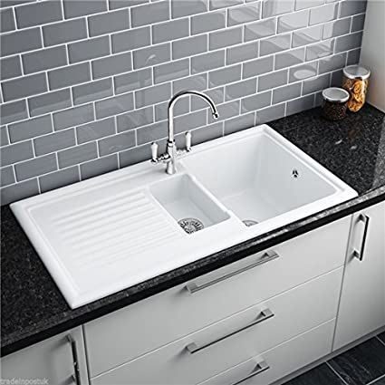 Reginox RL301CW 1.5 Bowl White Ceramic Reversible Inset Kitchen Sink &  Waste Kit