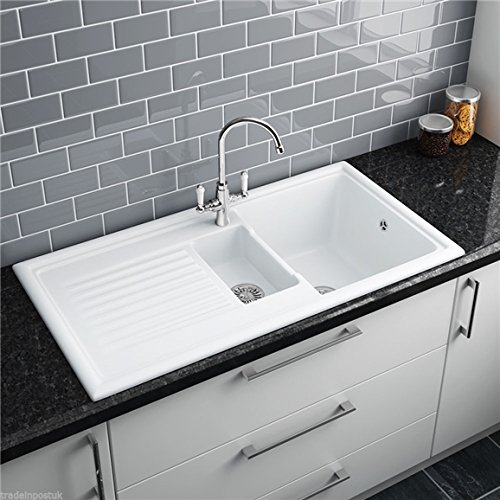 Reginox RL301CW 1.5 Bowl White Ceramic Reversible Inset Kitchen Sink ...