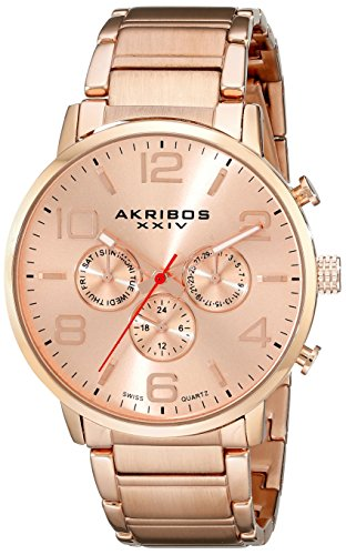 Akribos XXIV Men's AK803RG Multifunction Swiss Quartz Movement Watch with Rose Gold Dial and Stainless Steel - Dial Multifunction Gold