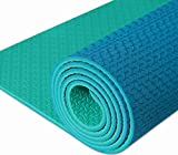 IUGA Non Slip Yoga Mat with Carry Strap, Eco Friendly & SGS Certified TPE Material – Odorless, Non Slip, Durable and Lightweight, Dual Color Design, Thickness ¼ Inch