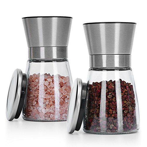Pepper Mill And Salt Shaker Set - CONPRO Hand Crank Grinder With Adjustable Ceramic Coarseness Mechanism - Brushed Stainless Steel And Glass Jar - Black Chalkboard Labels Included