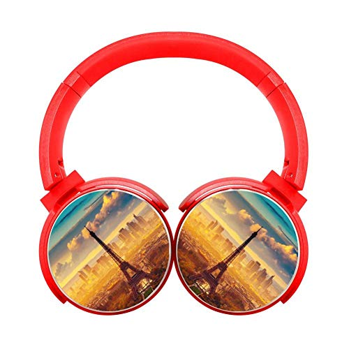 Amazing Eiffel Tower Red Bluetooth Headphone Wireless Gaming Earphone Portable Hi-Fi Stereo Headset Foldable Over Ear Headphones Noise Cancelling High Sound Earbuds Gift