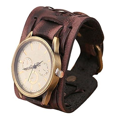 Wensltd Retro Punk Rock Brown Big Wide Leather Bracelet Cuff Men Watch (Brown Leather Geneva Watch)