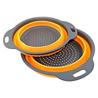Collapsible Colanders Set, TedGem 2 Pack Collapsible Set, Food-Grade Silicone kitchen Strainer Space-Saver Folding Strainer Colander, Sizes,8 inches - 2 Quart, and 10 inches - 4 quart(orange)