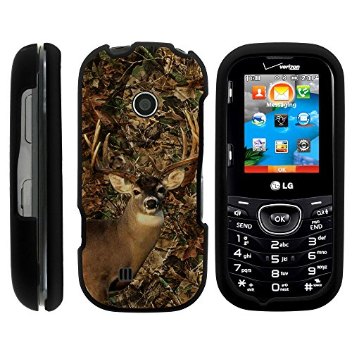 MINITURTLE Case Compatible w/ LG Cosmos 3 , 2 Piece Hard Snap On Case + Screen Protector Film + Black LG VN251s Deer Hunting Leaves